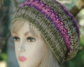 Pink Green Knit Slouchy Beanie Hat, Slouchy Hat, Oversized Beanie Reversible Chunky Slouch Hat, Knit Women's Winter Hat, Fall Slouchy Hat