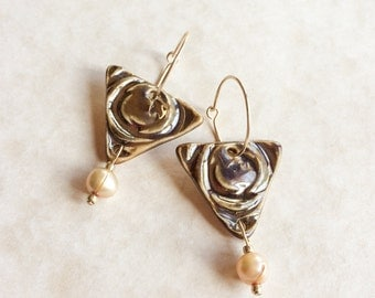 Antique Brass Glazed Porcelain and Pearl Earrings-Porcelain and Pearl Earrings-Freshwater Pearls-Gold Filled Hoops-Golden Blush Pearls
