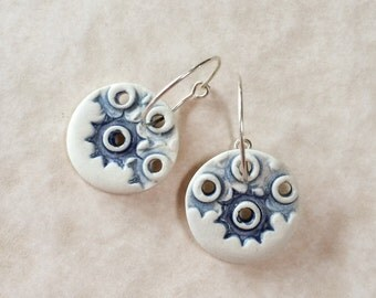 Mostly Unglazed Porcelain Earrings with Blue