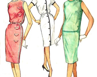 Shift Dress Pattern 1960s Back Zipper Round Neckline Women's Vintage Sewing Simplicity Women's Misses Size 12 Bust 32 Inches