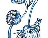 Blue Rose Unframed Archival Giclee Art Print