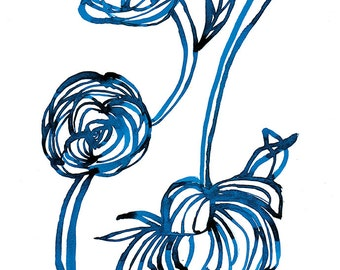 Blue Rose Wall Art Print botanical watercolour illustration