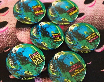 EARTH DAY // Choose One // Vintage 1990 Pin Punk Button Hippie Head Shop Pinback Badge Conservation