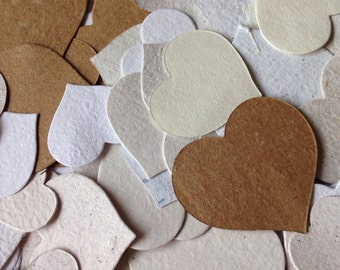 Assorted heart die cut shapes, neutral hearts, handmade paper, recycled paper, eco friendly paper, wedding confetti, table decor