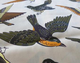 Big Birds Flying -  hand printed cotton fabric - half yard