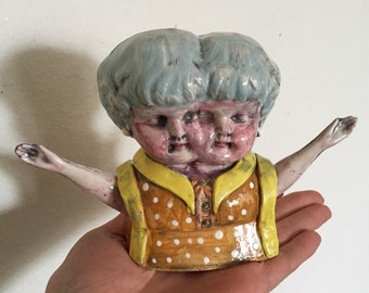 Two Faced Girls Stoneware Handmade Ceramic Figure