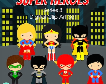 Super Heroes clipart Series 3 Digital Clipart, clip art collection