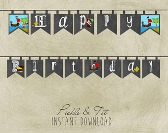 Instant Download- Printable- Pirate- Birthday Banner