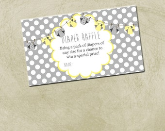 INSTANT DOWNLOAD- Gray and Yellow- Diaper Raffle- 3.5x2