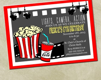 Printable-Lights, Camera, Action/ Movie Party Invitation