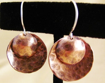 Copper Sterling Silver Mixed metal Double Disk Earrings