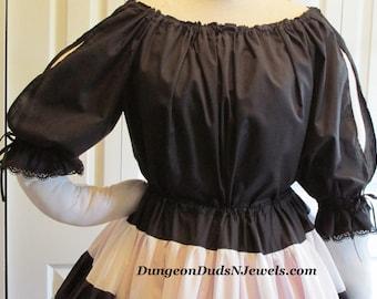 DDNJ Choose Color Renaissance  Tier Split Cotton 3/4 length Slv Chemise Plus Custom Made Your ANY Size Anime Costume Steampunk Gypsy Kawaii