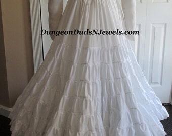 DDNJ Multi Tier Flared Hem Crinoline Petti Skirt Hoop Custom Made ANY Size Renaissance Civil War Victorian Wedding Cosplay LARP Anime