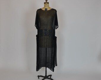 20s dress / Vintage 1920's Dragonfly Beaded Deco  Dress