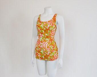 1960's Swimsuit / Pretty In Orange Vintage 60's Mod Bathing Suit
