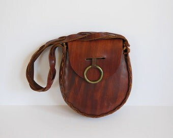70's Purse /  Ring of Happiness Vintage 1970's Boho Leather Hippie Bag