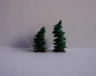 144th scale dolls house miniature evergreen trees