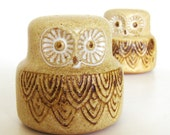 Vintage Ceramic OWL Salt and Pepper Shakers Pottery Craft Stoneware