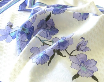 Vintage Jean Patou Silk Scarf for Singapore Airlines Made in Italy / Purple Floral Scarf