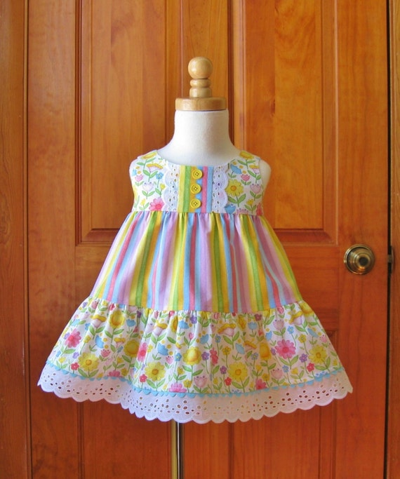 Baby girl tiered dress and shorts set whimsical pastel flowers