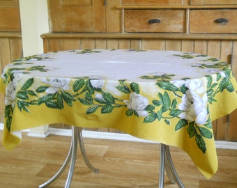 Elegant Vintage Floral Tablecloth • Golden Yellow with White Roses • Mid Century Tablecloth