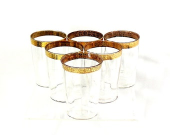 1920s Set of Gold Drinking Glasses, Fine Dining, Home Cocktail Set