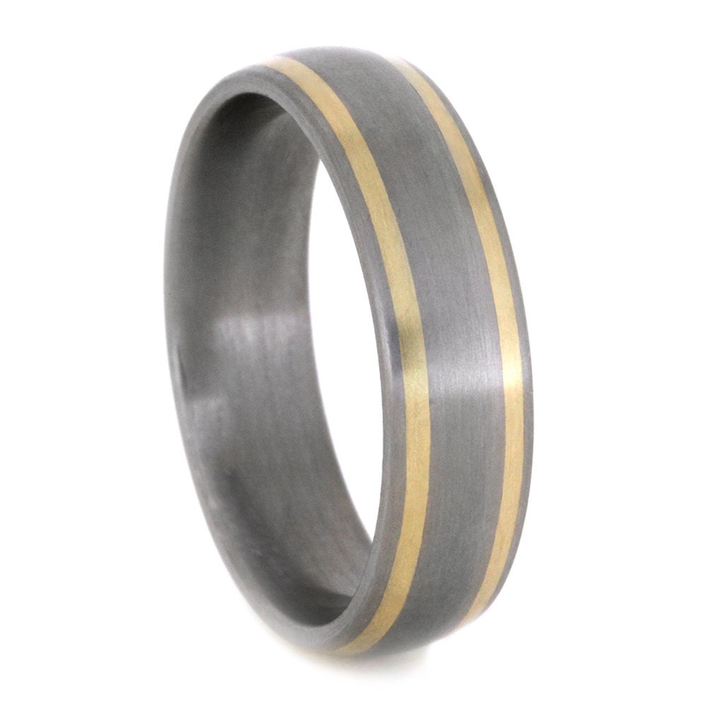 Titanium wedding band mens ring striped 14k by jewelrybyjohan for Gaudy mens wedding rings