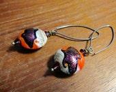 Purple Shimmer Orange Lampwork Earrings, Murano Glass Earrings, Glass Drop Earrings, Boho Chic, Handmade Jewelry