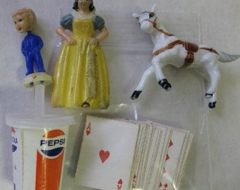 Vintage Odd Lot Miniature Items Tinykins Snow White Nodder Cards Horse Pepsi
