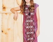 Women's dress purple rayon-linen with african cotton middle part Discounted price 50% off