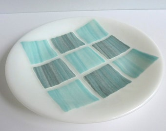 Fused Glass Round Plate in Shades of Aqua, White and Gray by BPRDesigns