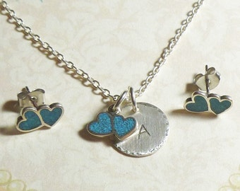 Double Heart with Turquoise Inlay Hand Stamped Sterling Silver Initial Charm Necklace and Earring Jewelry Set, Personalized Heart Jewelry