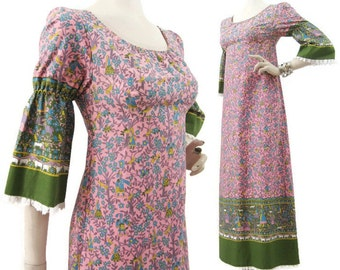Vintage 70s Dress Novelty Border Print Folkloric Cotton Maxi Gown S