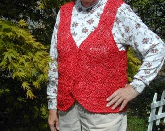 Red Crochet Vest Size Women's Medium