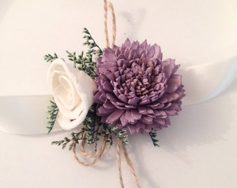 Wrist Corsage made with sola flowers - choose your colors - balsa wood - Choose colors