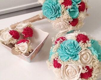 Aqua, Red Wedding Bouquet - sola flowers - Customize colors - Alternative bridal bouquet - bridesmaids bouquet