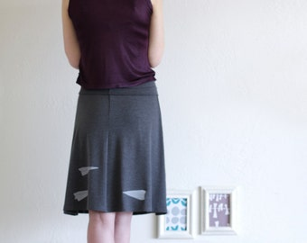 Unique Skirt for Women . Womens cute skirts, Gray jersey skirt, A-line knee length skirt with stretch adjustable waistband - Paper Airplanes