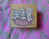 Kitty Basket Rubber Stamp