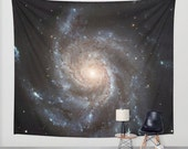 Messier 77 Wall Art Tapestry, Space Tapestry, Stars, Planets, Black Wall Art, Teal Blue Nature, Nebula Home Interior, Spiral Galaxy Tapestry