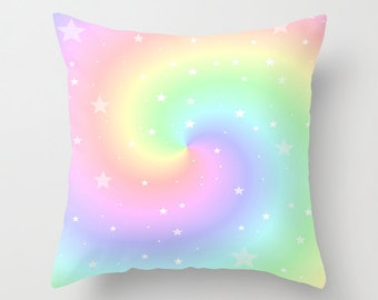 Throw Pillow, Rainbow Swirl and Stars, 16x16, 18x18, 20x20, Pastel Colors Pillow, Cover, Cushion, Wedding Gift, Eye Candy, Nursery Pillow
