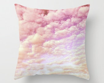 Throw Pillow, 16x16, 18x18, 20x20, Cotton Candy Sky, Decorative Pillow cover, Cushion, nursery pillow, pink, lilac pillow,happy,cloud pillow