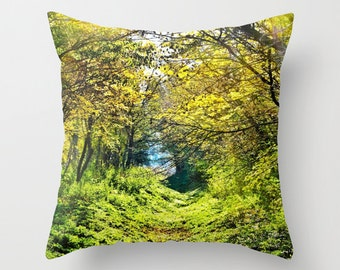 Forest Throw Pillow, In The Woods, Outdoor Pillow, Patio Decorative Pillow, Green Pillow, Nature Cushion, Leaves Pillow, Trees Pillow, Fresh