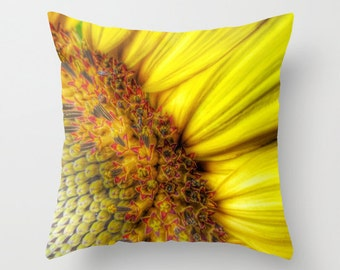 Sunrise Throw Pillow, Sunflower Pillow, 16x16, 18x18, 20x20, Bright Decorative Pillow, Yellow Pillow, Cushion, Wedding Gift, Sunny, Flower