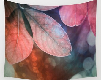 Leaves Wall Tapestry, Forest Wall Art, Colorful Large Tapestry, Tree Fine Art Photography, Nature, Wedding Gift, Outdoor, Garden, Pink, Teal
