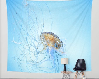 Aqua Blue Tapestry, Jellyfish Tapestry, Ocean Tapestry, Nautical Tapestry, Coastal Large Wall Decor, Surf, Photo Tapestry, Nature, Beach
