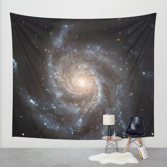 Messier 77 Wall Art Tapestry, Space Tapestry, Stars, Planets, Black Wall Art, Blue,Nature, Nebula Home Interior, Spiral Galaxy, Dorm, Office