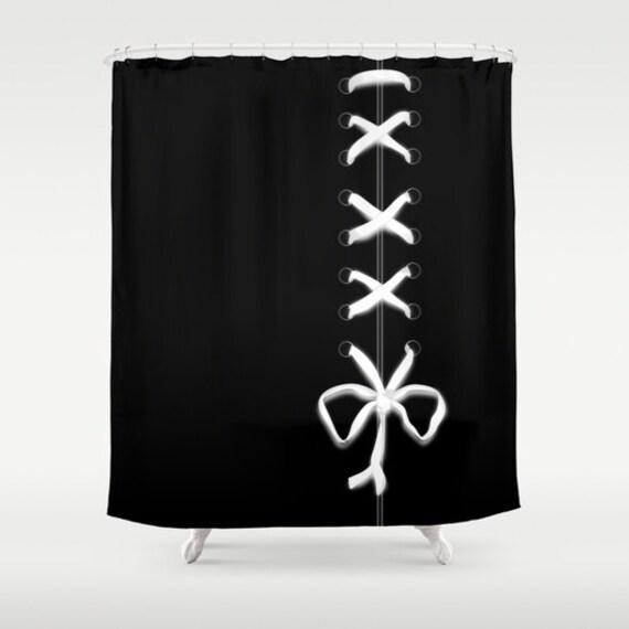 Black Laced Shower Curtain, White Ribbon Bathroom Decor, Modern Home Decor, Feminine Shower Curtain, Sexy, Wedding Gift, Bow Shower Curtain