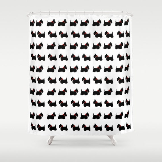 ... , Red Bow Shower Curtain, Wedding Gift, Black White Shower Curtain