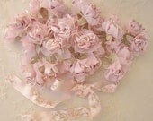 36pc Chic PINK WHITE Satin Organza Ribbon Wired Rose Peony Flower Reborn Doll Bridal Wedding Bow Hair Accessory Applique