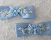 2 pc Hand Embroidered French Blue Satin Ribbon Beaded Flower Bow Applique w Sequins